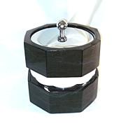 Gleaming Chrome, Black Marbled Vinyl Ice Bucket