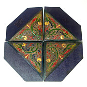 Arts and Crafts Set Tooled Painted Leather Blotter Corners
