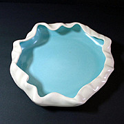 Metlox Poppytrail Turquoise White Low Flower Bowl