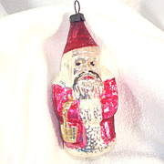 German Santa Claus With Basket 1930s Glass Christmas Ornament