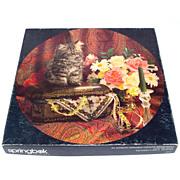 Precious Treasures Kitten, Flowers Springbok Round Jigsaw Puzzle