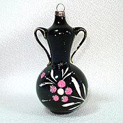 Free Blown Handled Urn Tea Pot Black Glass Christmas Ornament