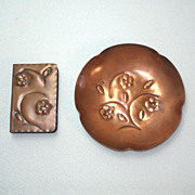 Copper Hand Wrought Ashtray and Match Box Holder