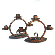 SOLD Craftsman Studios Pair Copper Triple Candelabra Candle Holders