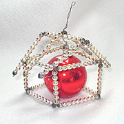 Wired Beaded House Mercury Glass Christmas Ornament