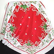 White Poinsettias, Candles 1950s Christmas Tablecloth