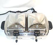 1930s Kenmore Chrome and Bakelite Twin Waffle Iron