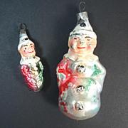 2 German Glass Clown Christmas Ornaments