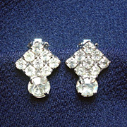 Petite Rhinestone Tilted Square Clip Earrings