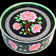 Crawford Pink Peonies on Black English Biscuit Tin