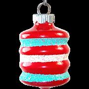Shiny Brite Unsilvered Red Mica Barrel Christmas War Ornament