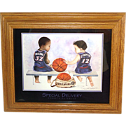 Special Delivery Utah Jazz Stockton Malone Basketball Framed Print