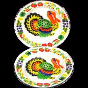 2 Colorful Mid Century Enamelware Turkey Dinner Plates