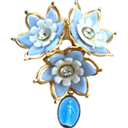 Miraculous Mary Brooch Blue Thermoset and Rhinestone Flowers