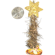 Baby Jesus and Star Paper Scrap and Tinsel Christmas Ornament