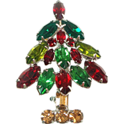 Napier Red Green Rhinestone Christmas Tree Pin Brooch