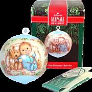 Hallmark 1991 Boy Baby's First Christmas Satin Ornament