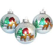 Reindeer in Snowy Woods 3 Big Stenciled Glass Christmas Ornaments