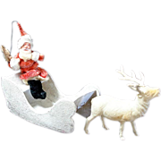 SOLD Christmas Putz Chenille Santa in Sleigh With Celluloid Reindeer