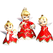 Lefton 1956 Naughty Sisters Baby Christmas Angel Bell Figurines Set