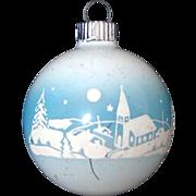 Shiny Brite Unsilvered Village Church Scene Christmas Ornament