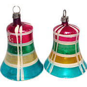 German Small Blown Clapper Bell Christmas Ornaments Plaid Paint