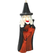 Gurley Halloween Witch With Broom Figural Candle