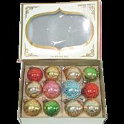 Box Shiny Brite Mini Mesh Covered Glass Christmas Ornaments