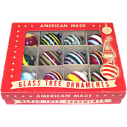 Box Unsilvered World War II Glass Stripes Christmas Ornaments
