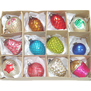 Box Antique Japan Shapes Feather Tree Christmas Ornaments