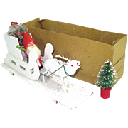 Germany Composition Christmas Belsnickle Santa, Sleigh, Reindeer