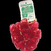 Red Plastic Glitterama Miniature Bells Christmas Ornaments
