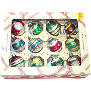 Box 1950s USA Glass Christmas Ornaments Indents, Egg Shapes