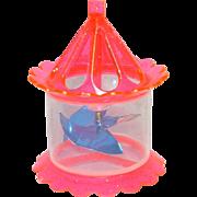 1950s Twinkler Pink Plastic Birdcage Spinner Christmas Ornament