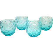 4 Anchor Hocking Lido Aquamarine Roly Poly Rocks Tumblers