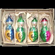 Box 1950s Poland Figural Glass Clown Christmas Ornaments