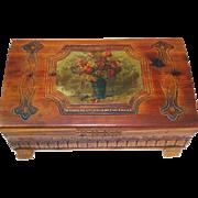Carved Cedar Jewelry Chest Keepsake Box Decoupage Top