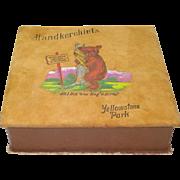 1930s Yellowstone Souvenir Painted Leather Hankie Box