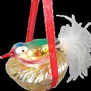 West Germany Bird on Nest Glass Christmas Ornament