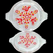 2 Pyrex Friendship Glass Replacement Lids for Cinderella Casseroles
