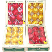 4 Boxes Pyramid Satin Sheen Red Yellow Christmas Ornaments