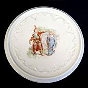 REDUCED Children Playing Robin Hood Antique Porcelain Tea Trivet