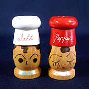 Retro Wooden Chefs Salt and Pepper Shakers