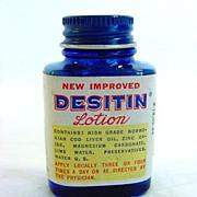 2 Desitin Lotion Vintage Sample Medicine Bottles With Contents