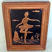 Ballerina Scene Tooled Copper Relief Framed Picture