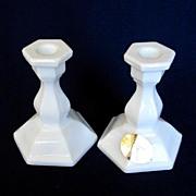 Tiara Miniature Milk Glass Candlesticks