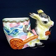 Burro Or Donkey Pulling Cart Ceramic Wall Pocket