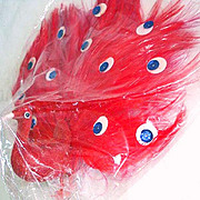 REDUCED 2 Red Feathered Peacock Christmas Birds Mint in Package
