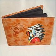 SOLD Lewiston Idaho Leather Snapshots Photo Album Hand Painted Indian