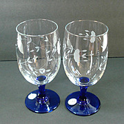 2 Princess House Heritage Cobalt Stem Ice Tea Goblets